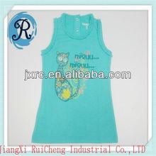fashion comforable girls O-neck lace sleeveless single jersey cotton 180 GRS printing beautiful baby dresses