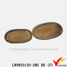 s/2 prmitive handicrafts hot selling brown antique wood trays