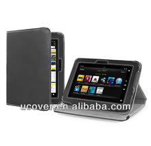 Flip stand folio leather case for amazon kindle fire HDX 7 tablet case