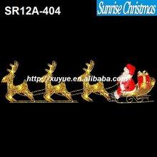 [2012 New] Christmas Santa Claus in sleigh sled/Santa in sleigh with reindeer/LED Christmas light (MOQ: 200PCS GS/CE/UL)