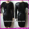 2015 chegada nova frente zipper manga comprida vestido bandage couro sexy vestido preto