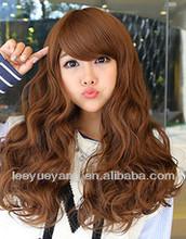 Bright brown medium fluffy pixie hair made in machine