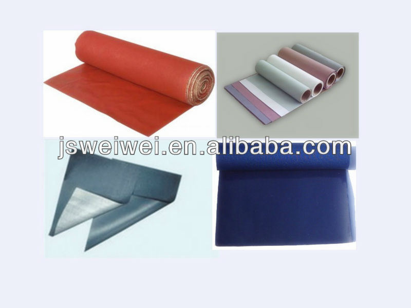 China VEIK different colors silicone rubber insulation fabric 0.15mm-2.00mm thickness max. 3.4m width