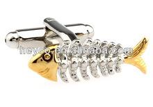 HEYCO gold animal animated 3D fish onyx art wrap around buy cufflinks