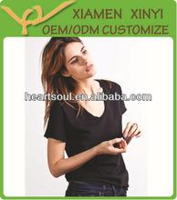 Short Sleeve V-neck Bulk Women Blank Cotton Tshirt