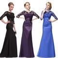 Elegante mangas 3/4 Lace mulheres Long Black vestido de noite HE09882SB