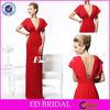 rse2147 Red Dress Plunging V Neckline Short Sleeve Crystal 2014 Fashion China Factory Dress Design