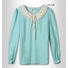 2014 latest fake collar chiffon tops for girls long sleeve chiffon women tops