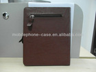 leather briefcase for the new ipad 3 with zipper closure and decoration