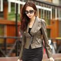 La chaqueta señoras de cuero de 2014 nuevo estilo de cuero chaqueta mujer chaqueta corta leater