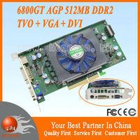 NVIDIA GeForce GPU NV40 6800GT AGP 512MB 128BIT DDR2 S-Video VGA DVI Game Graphic Video Card