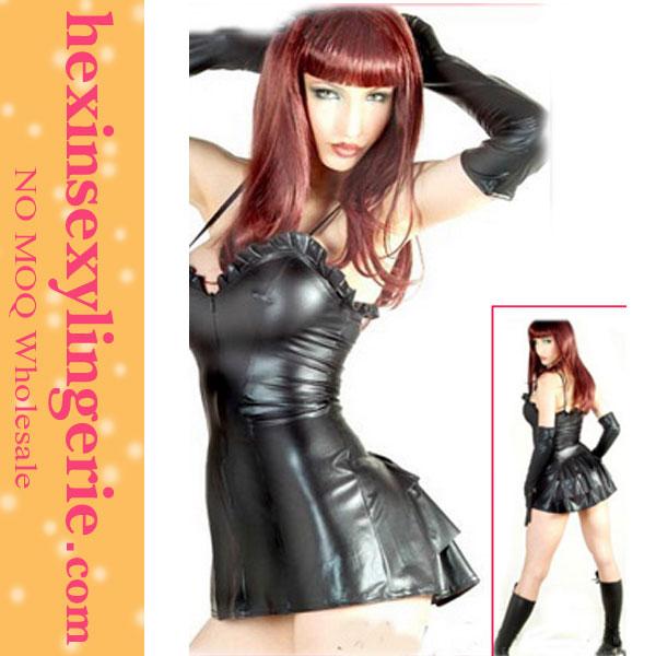 hot furioso meninas festa espartilho de couro preto vestido