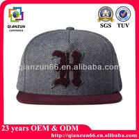 Towel embroidery black/blue tweed snapback cap hat