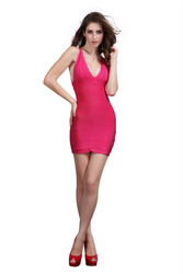 red design dresses v neck sexy evening women dress