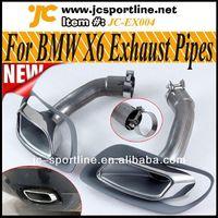 High Quality 304 Steel E71 X6 Series Muffler Dual Tips Auto Car Retrofit Tail Pipes Chrome For BMW X6 E71 30d 35d 40d