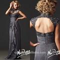 Grátis frete CY1054 cinza Applique frisado mangas gola alta elegante chiffon vestidos longos