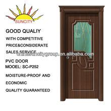 PVC interior door with design glass SC-P252