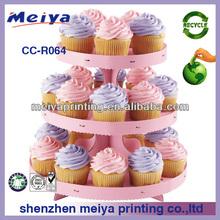 Sweet design 3 Tier pink Round Cupcake Cardboard Stand,colorful cake cardboard display