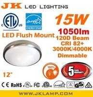 US ETL Energy Star LED Flush Mount 12 inch dimmable 15W 1050lm 3000K CRI 82+ Brushed Nickel