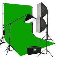 3 Softbox 2700 Watt Photography Video Hair Boom Lighting Kit 10x12 Chromakey GREEN Muslin Background Support Stand Case