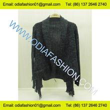 Wool/Acrylic bottom fringes special knitting patterns ladies cardigan shrugs