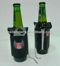 neoprene beer Leather T Shirt bottle Cooler with bottle opener