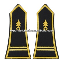 French Military Gold Bullion Embroidered Shoulder Boards | Gold 2 Stripes Embroidered French Shoulder Boards & Epaulettes