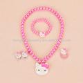 Hello kitty conjuntos de joyas, el color de la perla de imitación de la joyería, el precio de fábrica al por mayor