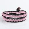 Pink Leather Braided with Opal Bracelet ,bracelet making supplies leather bracelet(WPB113)