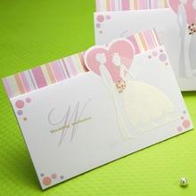 Sweet Bride & Groom Horizontal Wedding Invitation Card W0125
