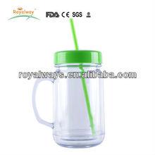 USA market 24oz plastic double wall travel mug with straw