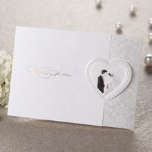 Bride and Groom Tri-Fold Wedding Invitation Card with Heart Shape T059