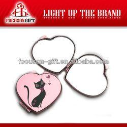 OEM Company Logo pink cat printing heart shape mirror