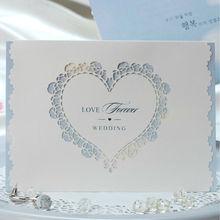 W1140 Heart Shape Laser Cut Z-Fold Wedding Invitation