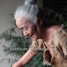 old woman sculpture lady wax statue handicraft