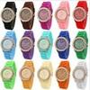 2014 New Product luxury Fashion goods Lady brand GENEVA rose gold Diamond quartz Silicone Jelly watch for women dress watch
