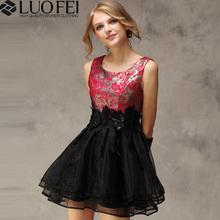 floral patterned brocade plain black organza skirt sleeveless summer short casual dress
