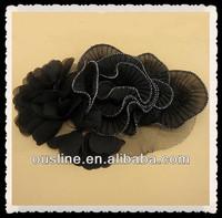 Mesh Back Chiffon Flower Corsage, Fabric Collar Necklace