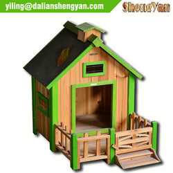 Dog Kennel painted pet house outdoor wooden dog house with balcony