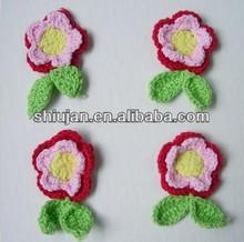 Flores de crochê artesanal para o vestido/hotsale tecido flores de crochet