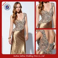 P0352 One shoulder bling prom dresses high waist shiny gold prom dress