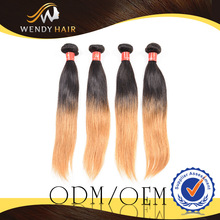 2014 new arrival product wendy company 100% peruvian huam hair straight yellow color ombre human hair weave