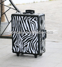 Zebra PVC pattern rolling trolley cosmetic train case with lights and stands /Mobile Professional make up station