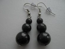 "Shungite Earrings ""Three Beads"" Natural Stone Jewelry"