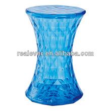 PC hourglass shape Crystal Stone low Bar Stool