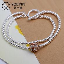 2014 silver plating long ball chain bracelet