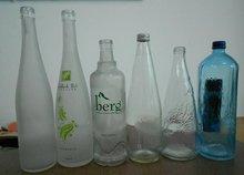 Green mineral water bottles