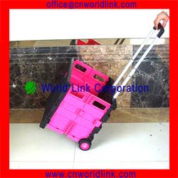 2 Wheels Shopping Foldable Plastic PP Trolley