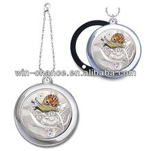Round Shape Pattern Designed Cover w/ Embossed Snail Sliding Mirror Case