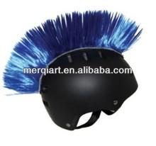 Fashion fancy blue helmet mohawk for outdoor use helmet wig helmet hair